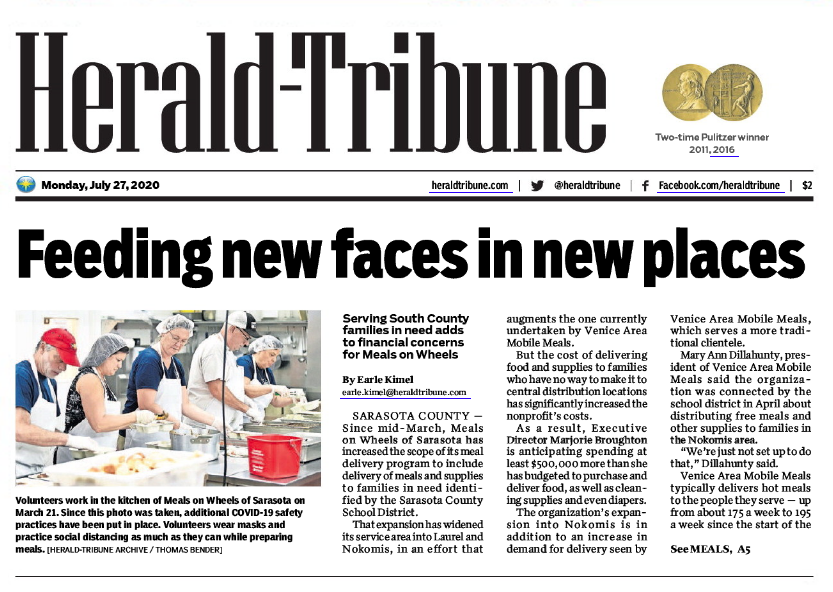 Herald-Tribune Article Preview: https://grapevinepublicrelations.com/pandemic-deliveries-stretch-resources-at-meals-on-wheels/